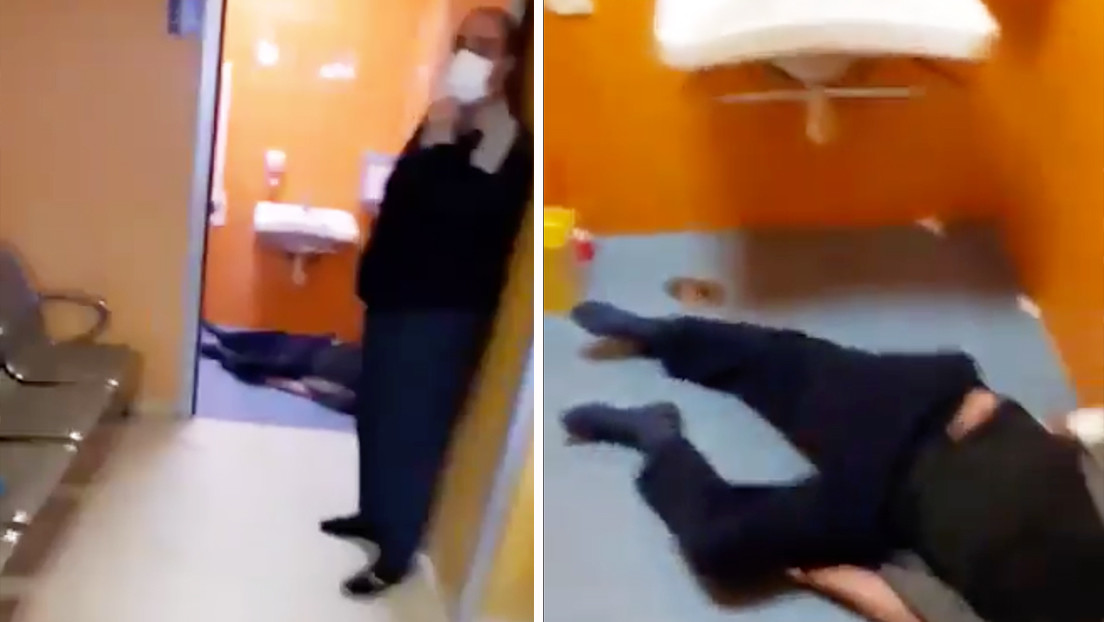 Dramática escena de un hombre muerto en un baño de un ...